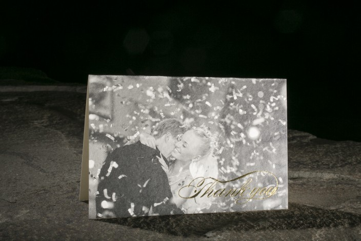 Thank you notes with black and white wedding photo and gold foil
