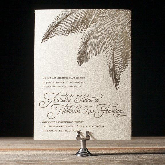 Tropical Wedding Invitation, gold foil with palm fronds, destination wedding
