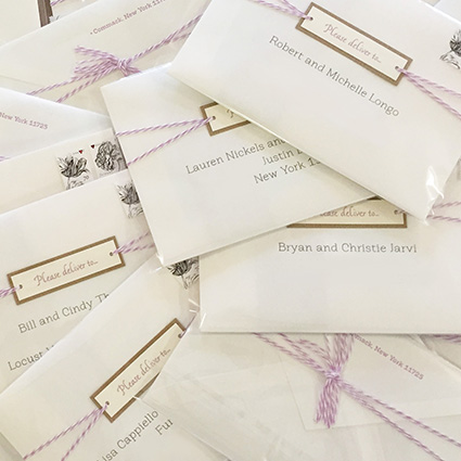 Whimsical Mailing Envelopes, Lavender twine and tag, floral stamps