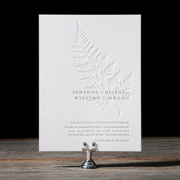 Elegant rustic letterpress invitation, spring wedding inspiration