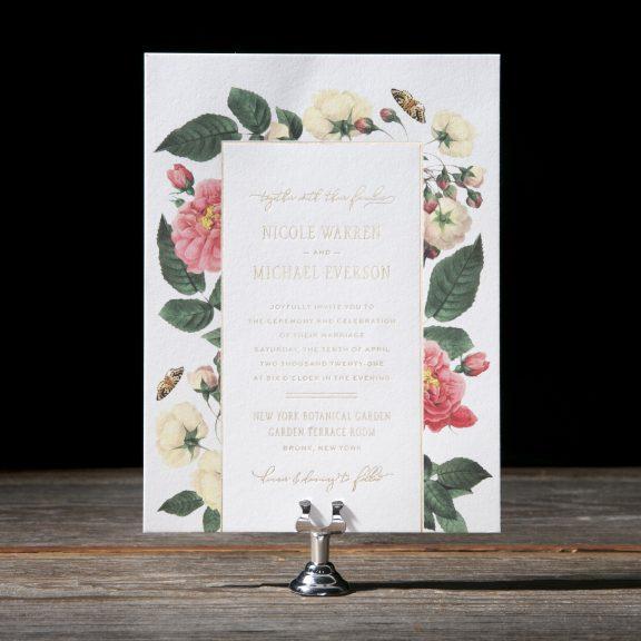 Letterpress and foil floral wedding invitation, gold foil and multicolor vintage flowers