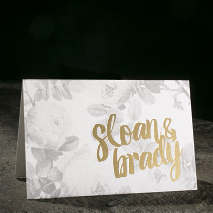 Floral and Gold Thank You Note, Gray and Gold color palette, folded notecard with bride and groom's names