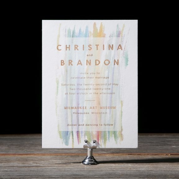 Brush Stroke Wedding Invitation, Colorful with copper foil text, modern invitation