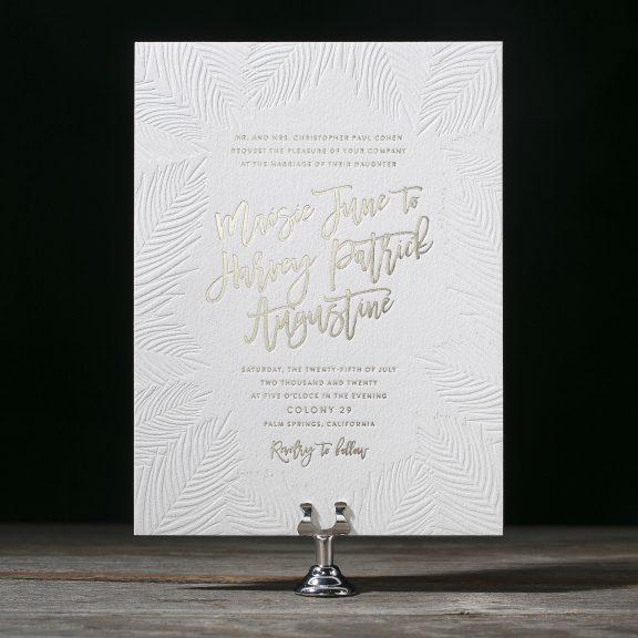 Beach Wedding Invitation, Palms with gold foil