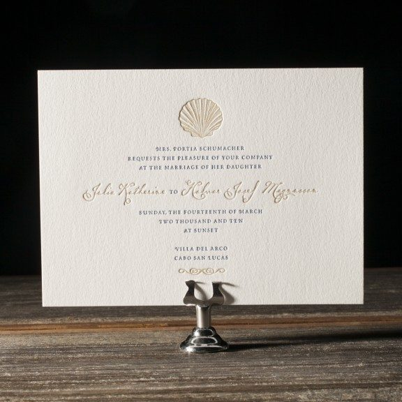 Beach letterpress invitation with sea shell, classic color palette in navy and taupe