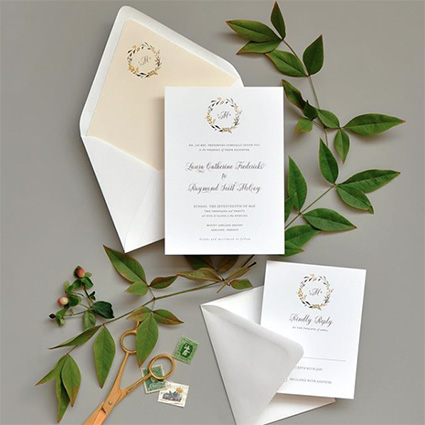 Summer Wedding Invitation with monogram, greenery and laurel, vintage stamps