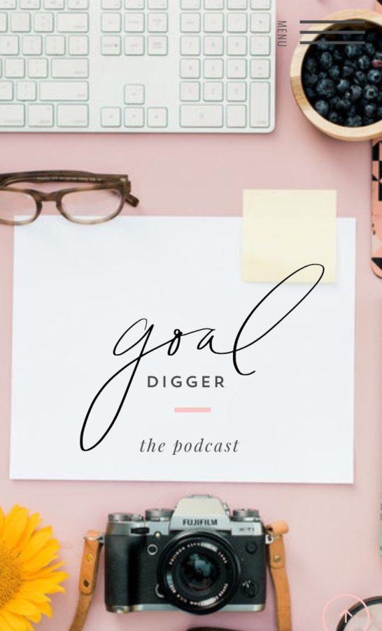Goal Digger Podcast, screenshot from her website, pink background, camera, glasses