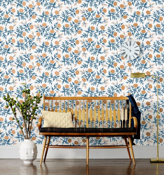 Rifle Paper Copper Peonies Wallpaper, Copper and Teal Floral