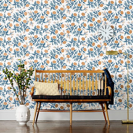 Rifle Paper Wallpaper with Blue Peonies