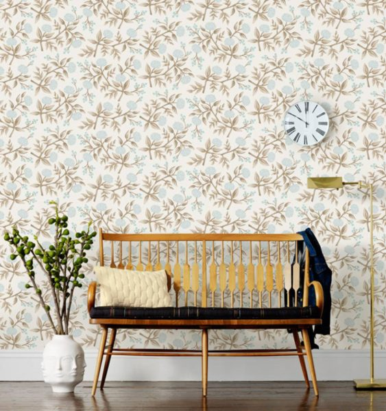 Rifle Paper Pale Blue Peony Wallpaper, Blue and Tan color palette