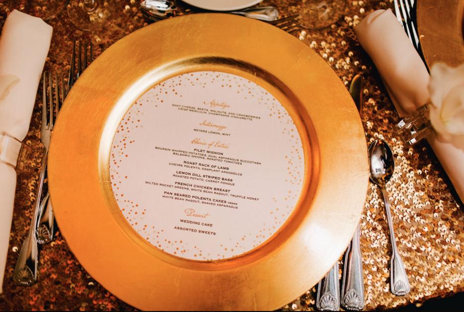 Gold Wedding Menu, Formal with Confetti Details, Circle Shape