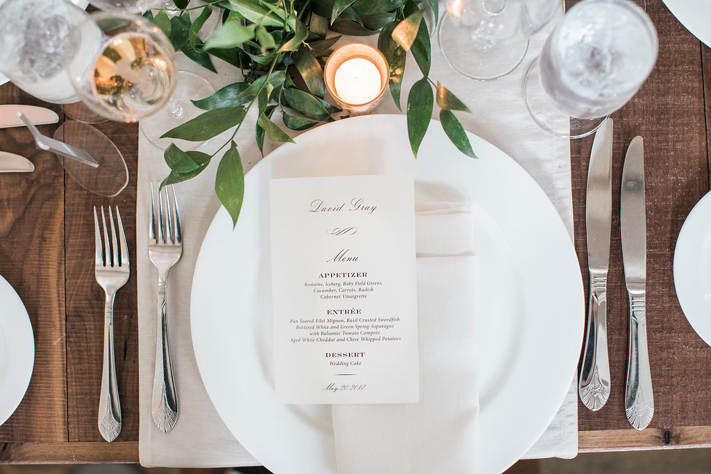 Traditional Wedding Menu, Charcoal text, table setting with greenery and candles