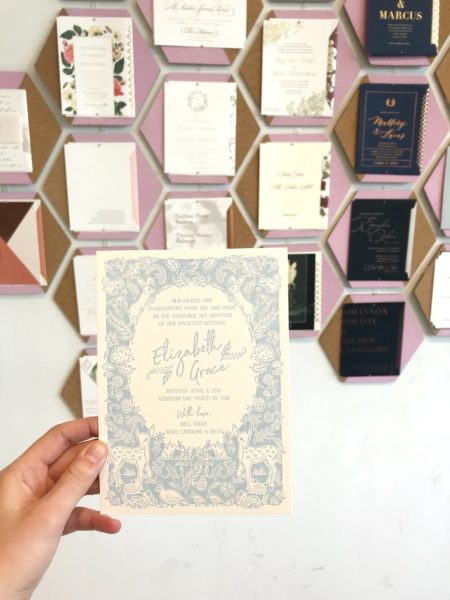 Letterpress Baby Announcement on display at Bella Figura, woodland animals in light blue ink