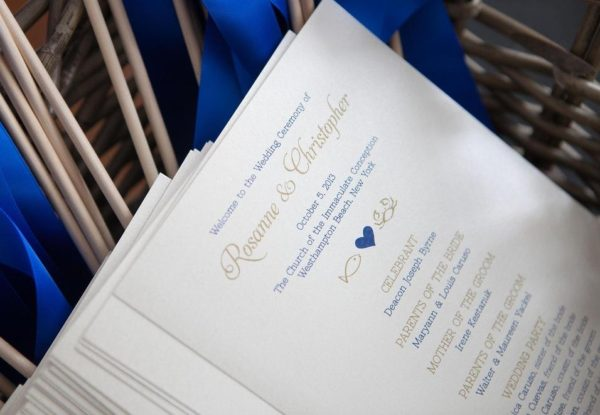 Nautical Ceremony Programs, with crab, fish and heart details, gold and navy inks