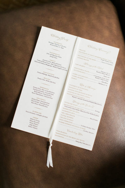 Formal Ceremony Program, Gold and chocolate inks with deco monogram and satin ribbon