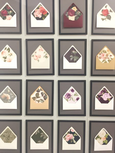 Smitten on Paper at the National Stationery Show, Wall of floral envelope liners