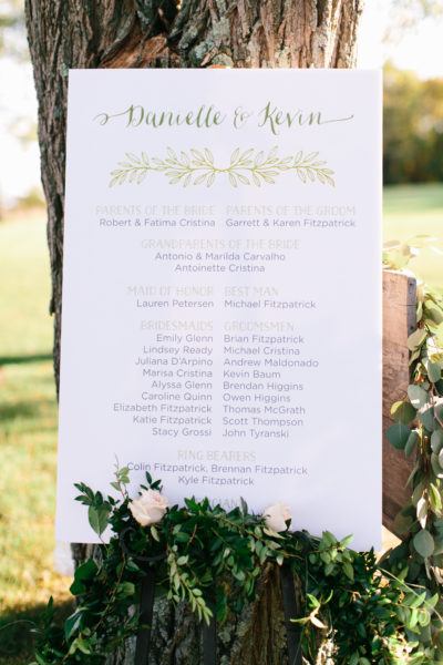 Rustic Ceremony Program Sign, Sign listing the wedding party, green and charcoal inks, greenery leaves and whimsical fonts