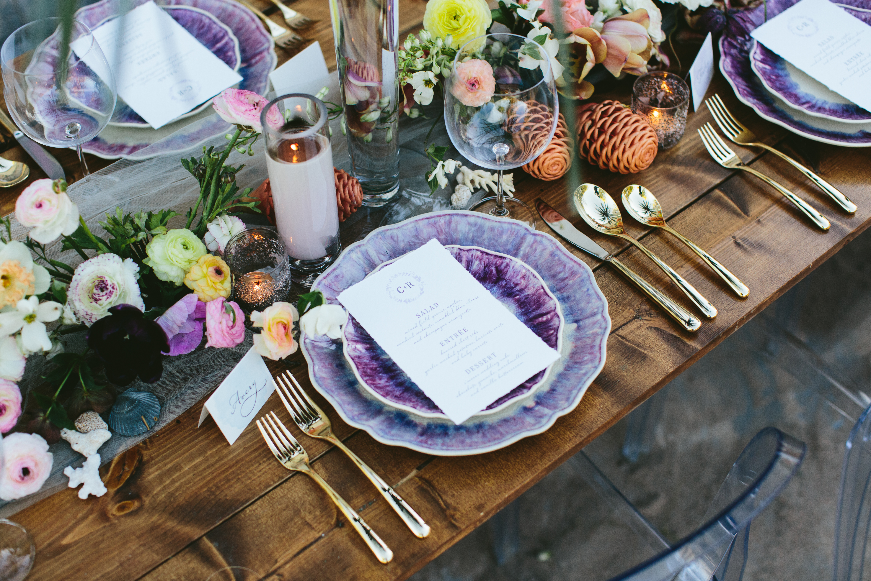 Romantic Wedding Menu with Hand Torn Edges