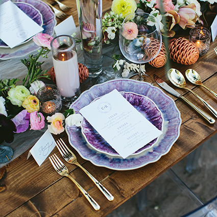 Romantic Wedding Menu for styled shoot, purple watercolor anthropologie plates, hand torn edges on menu, watercolor place cards, gold flatware