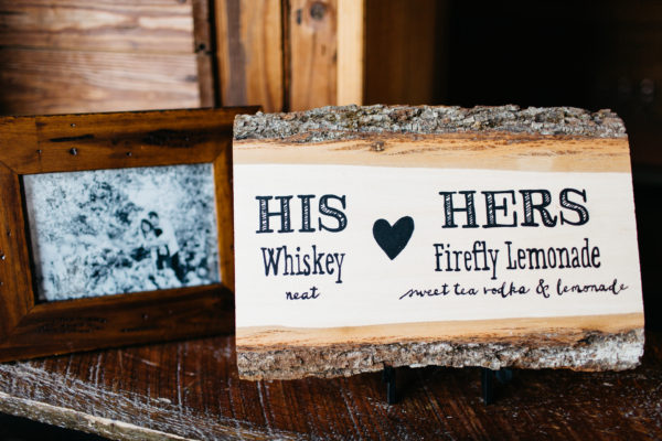 Rustic Cocktail Sign, Black calligraphy on a slice of wood