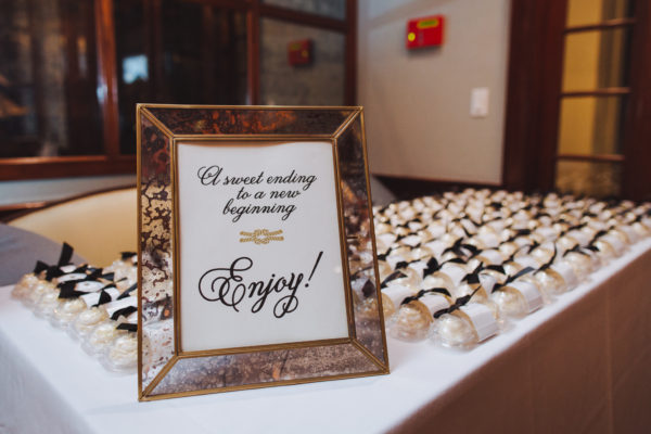 Wedding Favor Sign, black text with nautical knot illustration, inside a gold frame