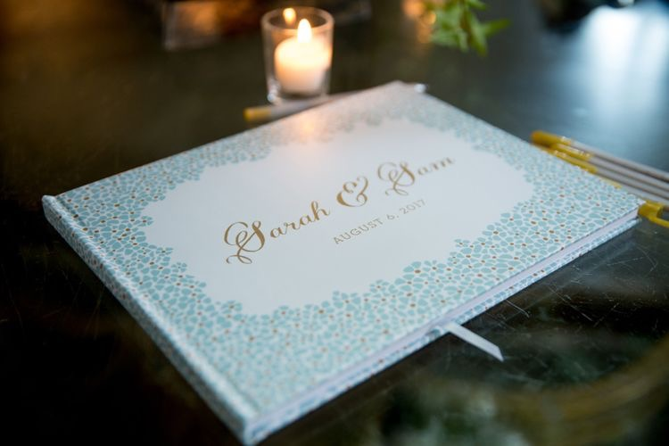 Floral Guest Book, Mint and gold guest book with floral border details