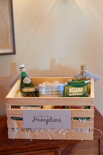 Hamptons Hospitality Basket, crate with cookies and other goodies