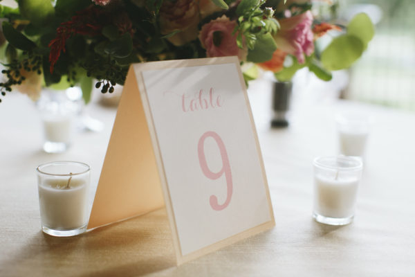 Pink Wedding Table Numbers, Pink and Peach color palette, handwritten-style script