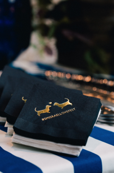 Puppy Cocktail Napkins, Black napkins with gold foil, wedding hashtag and dachshund illustrations