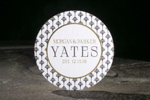 Wedding Coasters, deco design in black and gold color palette, letterpress with foil details