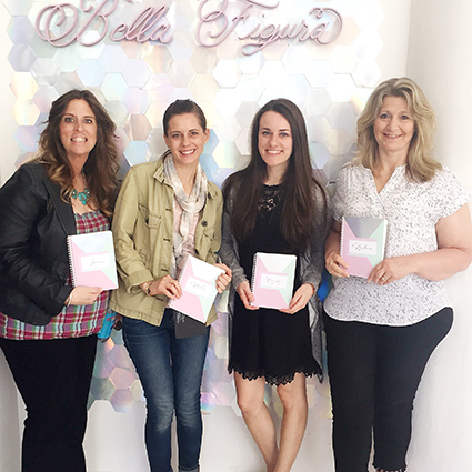 Fat Cat Paperie team at Bella Figura Stationery Show, honeycomb background