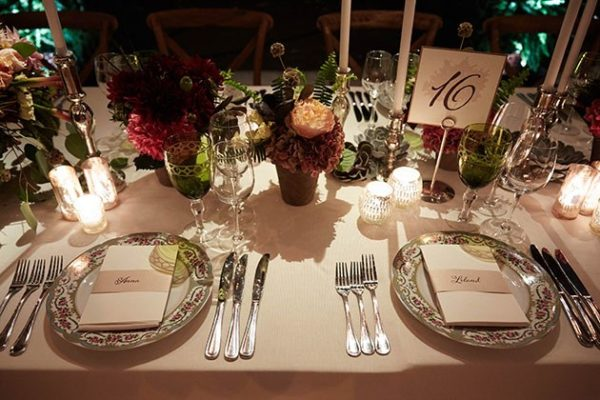 Whimsical Table Setting, Lush florals, table number with tree silhouette detail