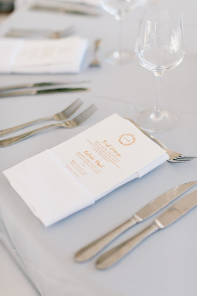 Copper Wedding Menu, Rustic monogram in copper foil, whimsical, rustic fonts, soft white paper