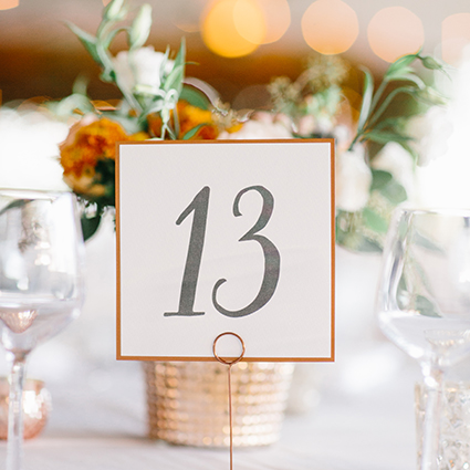 Rustic Table Numbers, Copper and Gray Color Palette