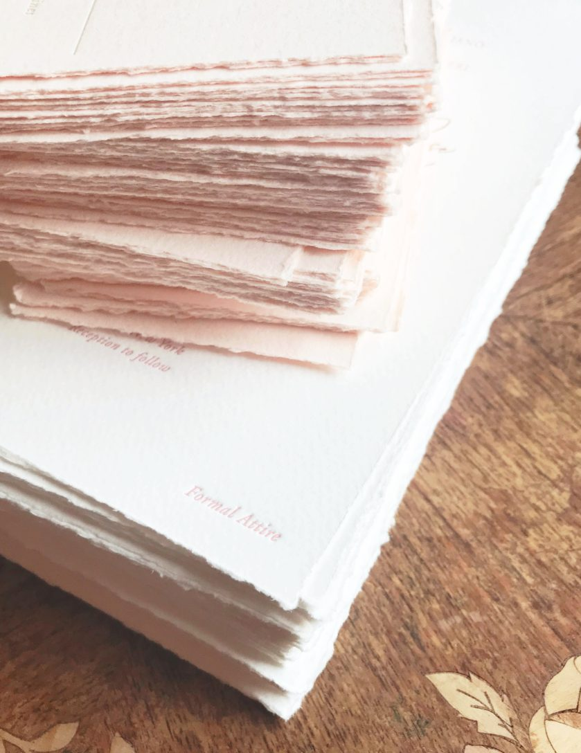 Hand Torn Invitation Paper, Blush and Ivory Color Palette, Stacks of Textured Paper