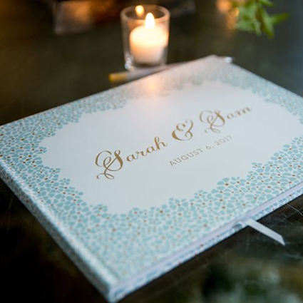 Floral Guest Book, personalized with the couple's names, mint and gold color palette