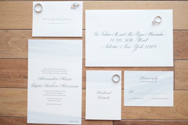 Watercolor wedding invitation with hand calligraphy, Periwinkle watercolor wash with gray letterpress details