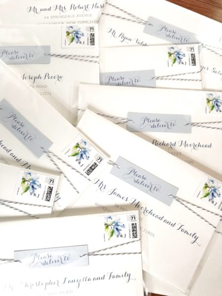 Twine Wedding Invitation, Whimsical mailing envelopes with twine and tag detail, white and light blue with custom monogram stamp, blog post about addressing your envelopes
