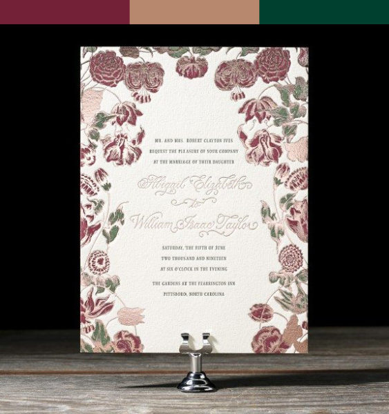 Rose Gold Floral Wedding Invitation with Wine and Emerald Floral Details, Formal Typesetting with Calligraphy Script