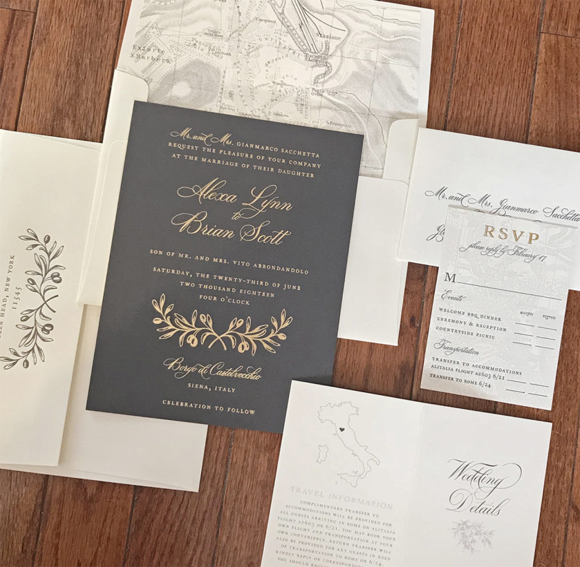 Gray and Gold Invitation for a Tuscan Destination Wedding, Gold foil with olive branch detail, vintage map envelope liner and detail booklet