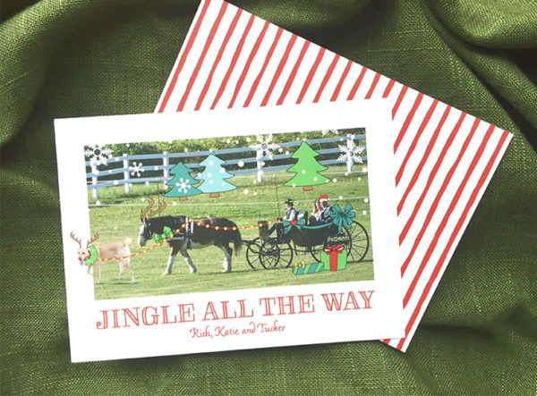Quirky Holiday Card from Fat Cat Paperie, Wedding Photo with Horse Drawn Carriage and Fun Holiday Illustrations