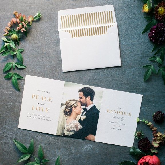 Newlywed Holiday Card, Wedding Photo Designed on Letterpress and Foil Trifold Card, Gold Striped Envelope Liner