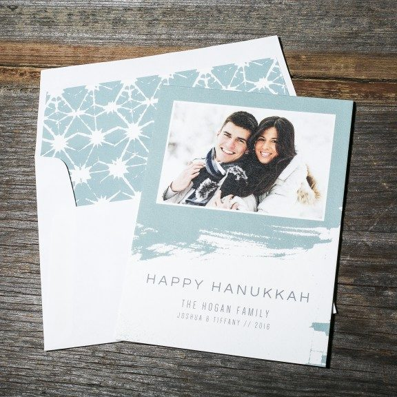 Letterpress Photo Hanukkah Card, Light blue details and patterned envelope liner