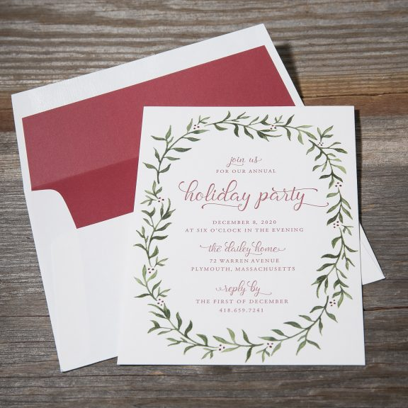 Holiday Party Card with wreath detail and red letterpress ink and watercolor wreath