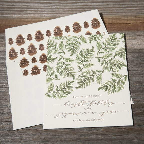 Pinecone Letterpress Christmas Card, Pinecone envelope liner and green branches on card