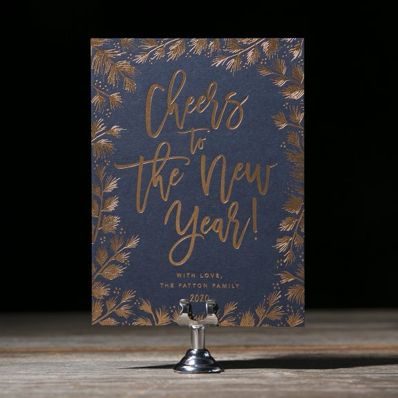 Festive Navy and Copper New Year's Card with Foil Details