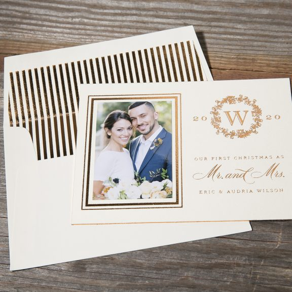 Classic Gold Christmas Card with wreath detail and striped envelope foil liner
