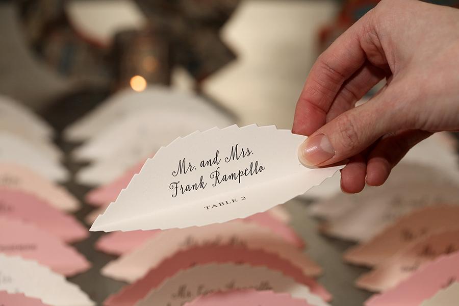 Leaf Escort Cards in Pink Pastels.