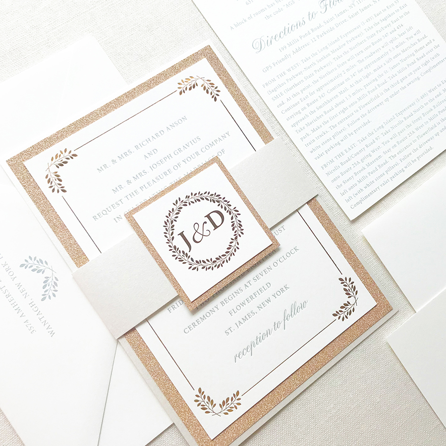 Rose Gold Glitter Wedding Invitation with Copper Foil and Lauren Monogram