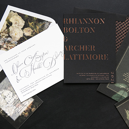 Moody Wedding Invitations, dark color palette, floral details with whimsical script, copper foil details